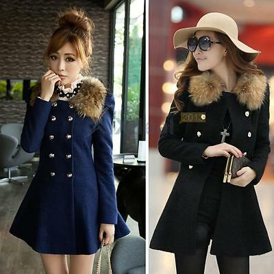 Hot!!! Women Winter Double Breasted Fur Collar Jacket Trench Coat Outwear Parka