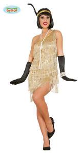 0e20350130bd8 Dorée Charleston Robe Carnaval 20er Ans Déguisement pour Fête ...
