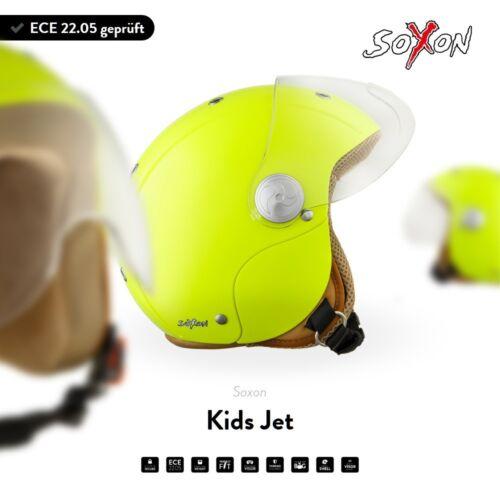 SOXON SK-55 NEON Jet Helmet Vespa Scooter Pilot KIDS motorcycle Retro XXS XS S