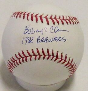 """Brewers BOB McCLURE Signed official MLB Baseball AUTO w/ """"1982 Brewers"""""""