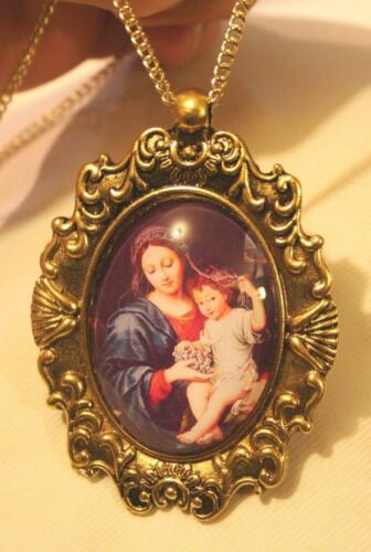 Striking Shell Festooned Goldtne Our Lady Mary Jesus Grapes Cameo Medal Necklace