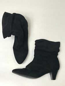 WOMEN-039-S-GEORGE-BLACK-FAUX-SUEDE-PULL-ON-LOW-HEEL-ANKLE-BOOTS-UK-6