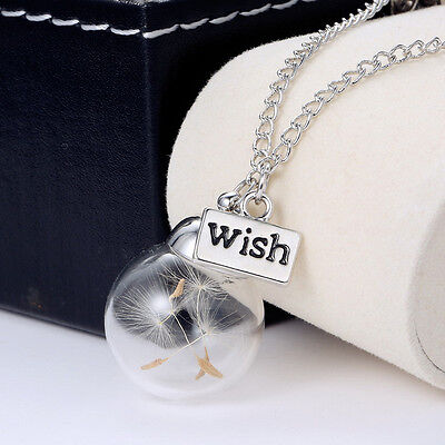 Fashion Women Real Dandelion Seeds Lucky Glass Wishing Bottle Pendant Necklace