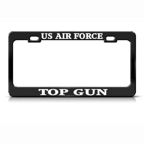 US AIR FORCE TOP GUN STEEL HEAVY DUTY BLACK License Plate Frame Tag Border WHITE