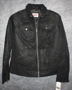 1bb6a662b9f LEVI S Black Moto 100% Genuine Leather Jacket Coat Womens Plus Size ...