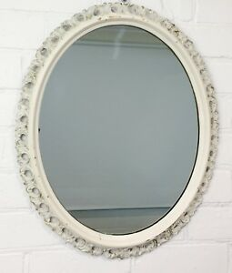 Original-Vintage-Rustic-Style-Ornate-White-Wall-Hanging-Oval-Mirror-952