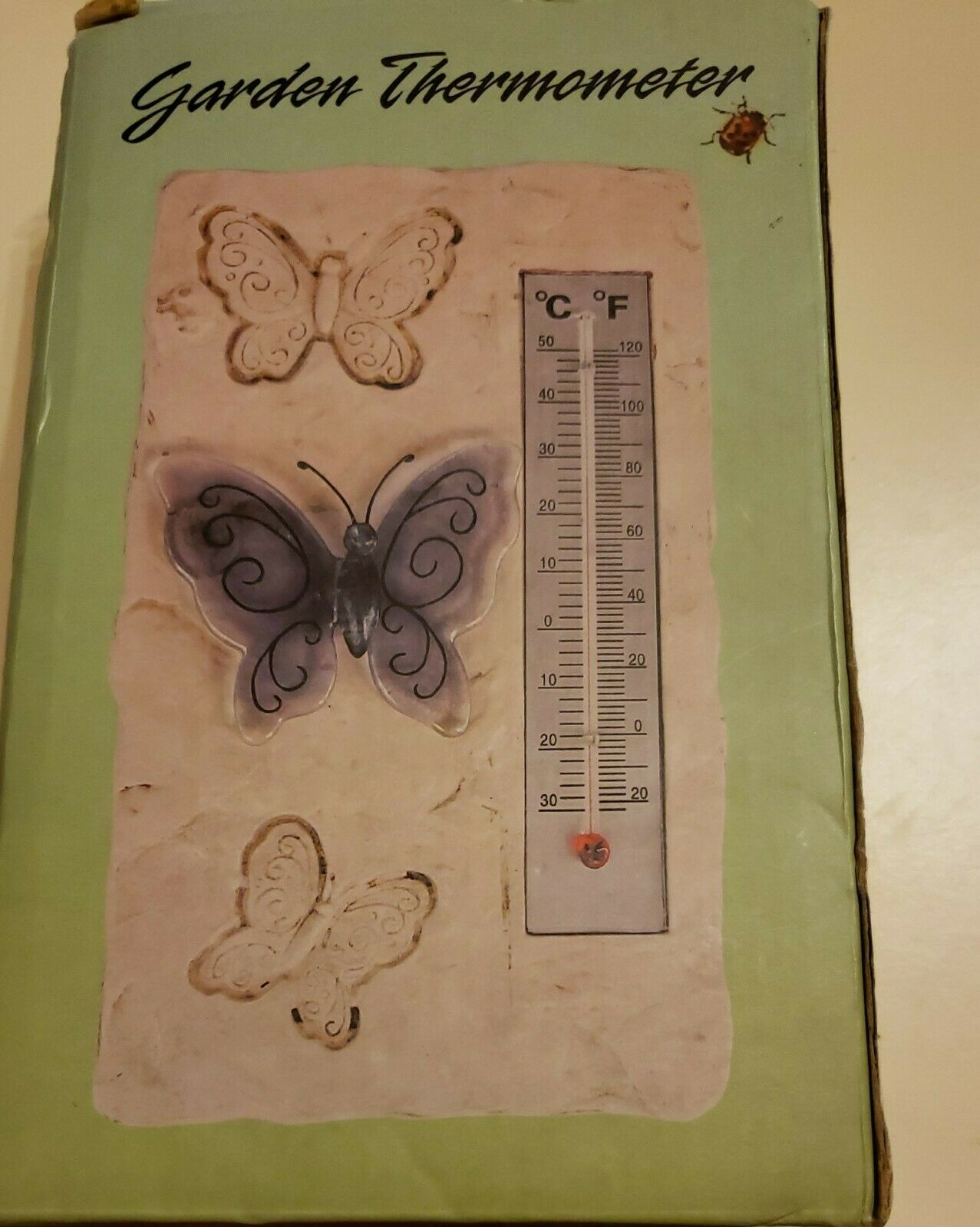 New Indoor/Outdoor Easy Read Thermometer Butterfly Garden Home E Z Butterflies