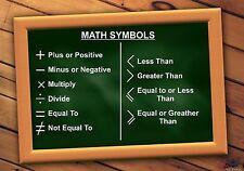 Math Symbols - NEW School Educational Classroom Mathematics A4 poster NEW!!!