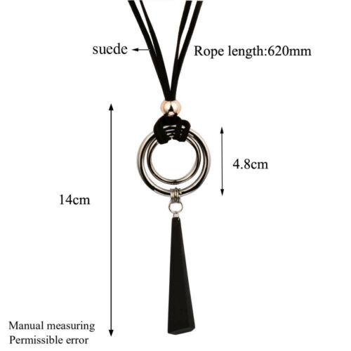 Big Black Alloy Double Round Pendant Long Necklace Suede Leather Rope Jewelry