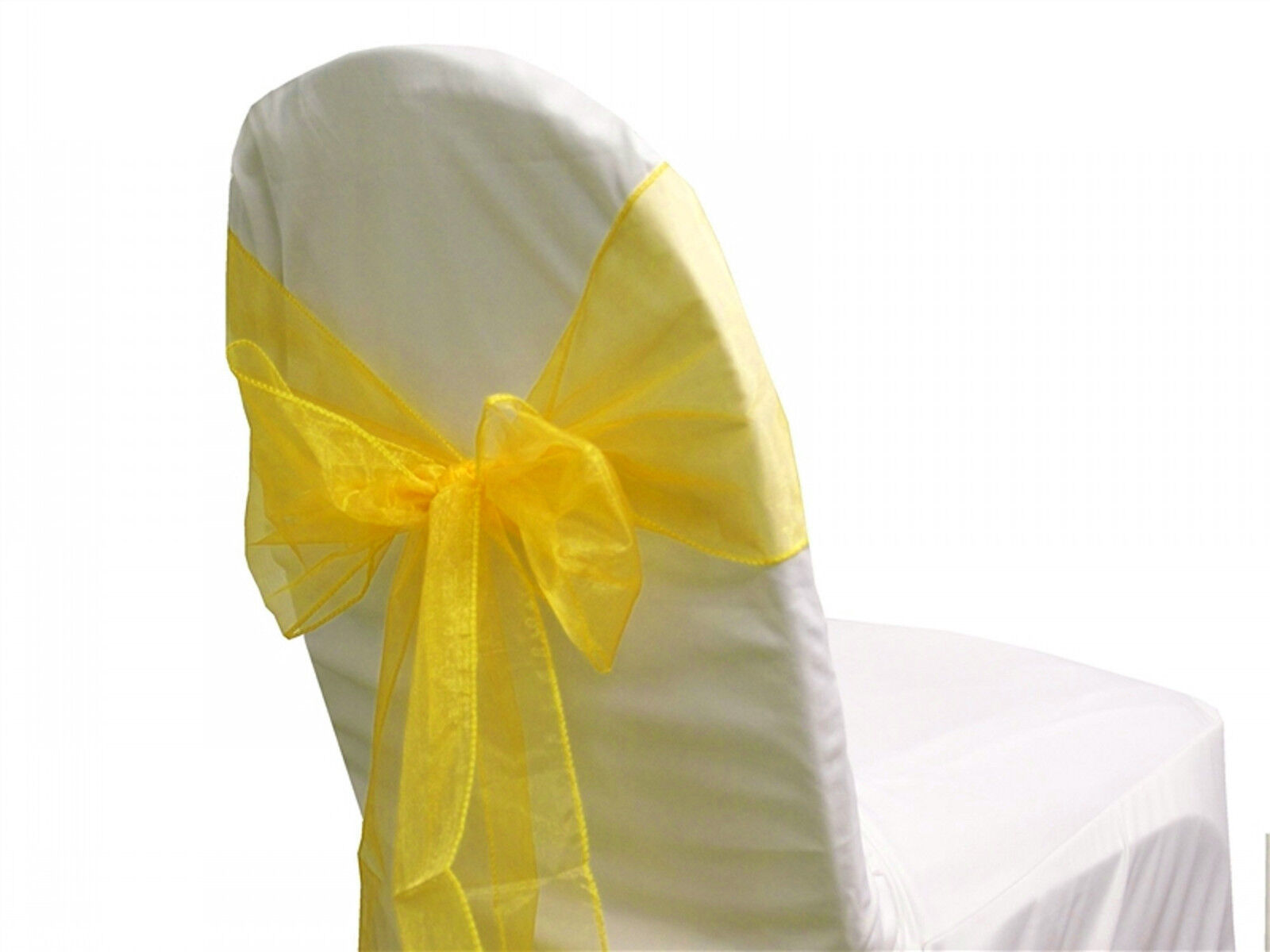 72 Chair Bow Organza Sashes Chair Wedding Party Bows 9  x 10ft-Harvest jaune