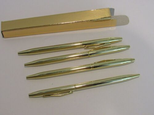 "4 TERZETTI Model ""SLIM"" PLUS GOLD BALLPOINT PENSSlim PenGOLD GIFT BOX FOR EACH"