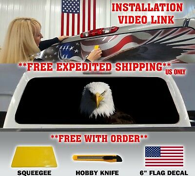1 X AMERICAN FLAG EAGLE PICK-UP TRUCK BACK WINDOW GRAPHIC DECAL PERFORATED VINYL