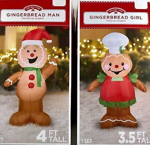 image is loading gingerbread man and girl set airblown inflatable christmas