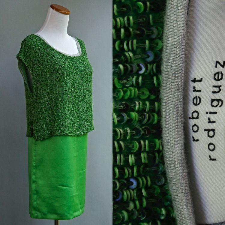 Robert Rodriguez Con Cuentas Vestido Seda súperior verde  Lima totalmente cubierto de perlas XS 0  los clientes primero