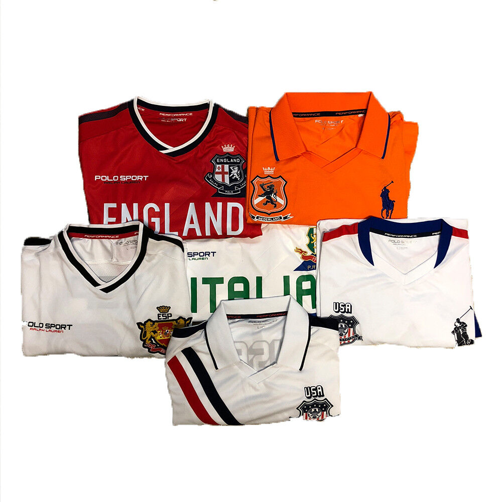 POLO SPORT RALPH LAUREN SHORT SLEEVE SOCCER JERSEY VARIOUS COUNTRIES COLORS