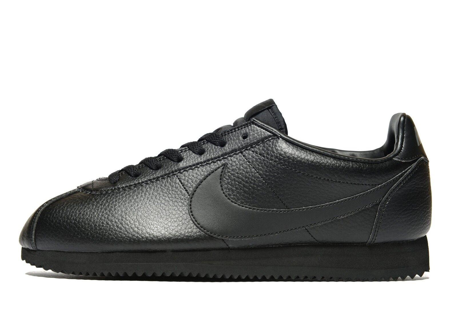 Authentic Nuovo di Zecca Nike Classic Cortez da Uomo Pelle (Misura EUR 45) Nero