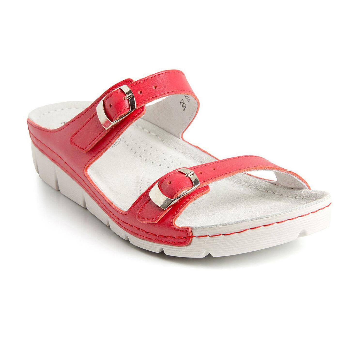 BATZ GARDA luce rossa e flessibile Sandali in pelle fatto a mano Zoccoli Ciabatte Donna Regno Unito
