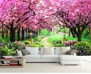 New 3d Wallpaper Mural Flower Romantic Cherry Blossom Tree Wall
