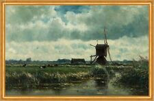 Polder landscape with windmill near Abcoude Willem Roelofs Mühle B A1 03455