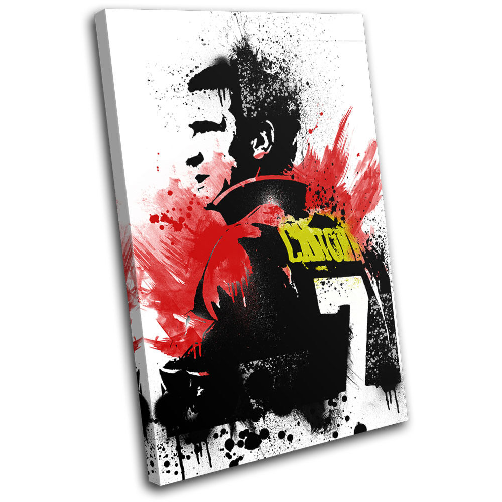 Cantona Grunge Abstract Sports SINGLE TOILE murale ART Photo Print