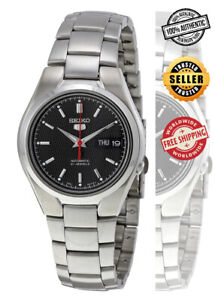 Seiko-5-Automatic-SNK607-SNK607K1-Men-Black-Dial-Day-Date-Steel-Watch-Free-Ship
