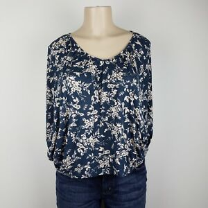 LC-Lauren-Conrad-Blouse-Womens-Size-Small-Blue-Tan-Floral-Kimono-Sleeves-Top