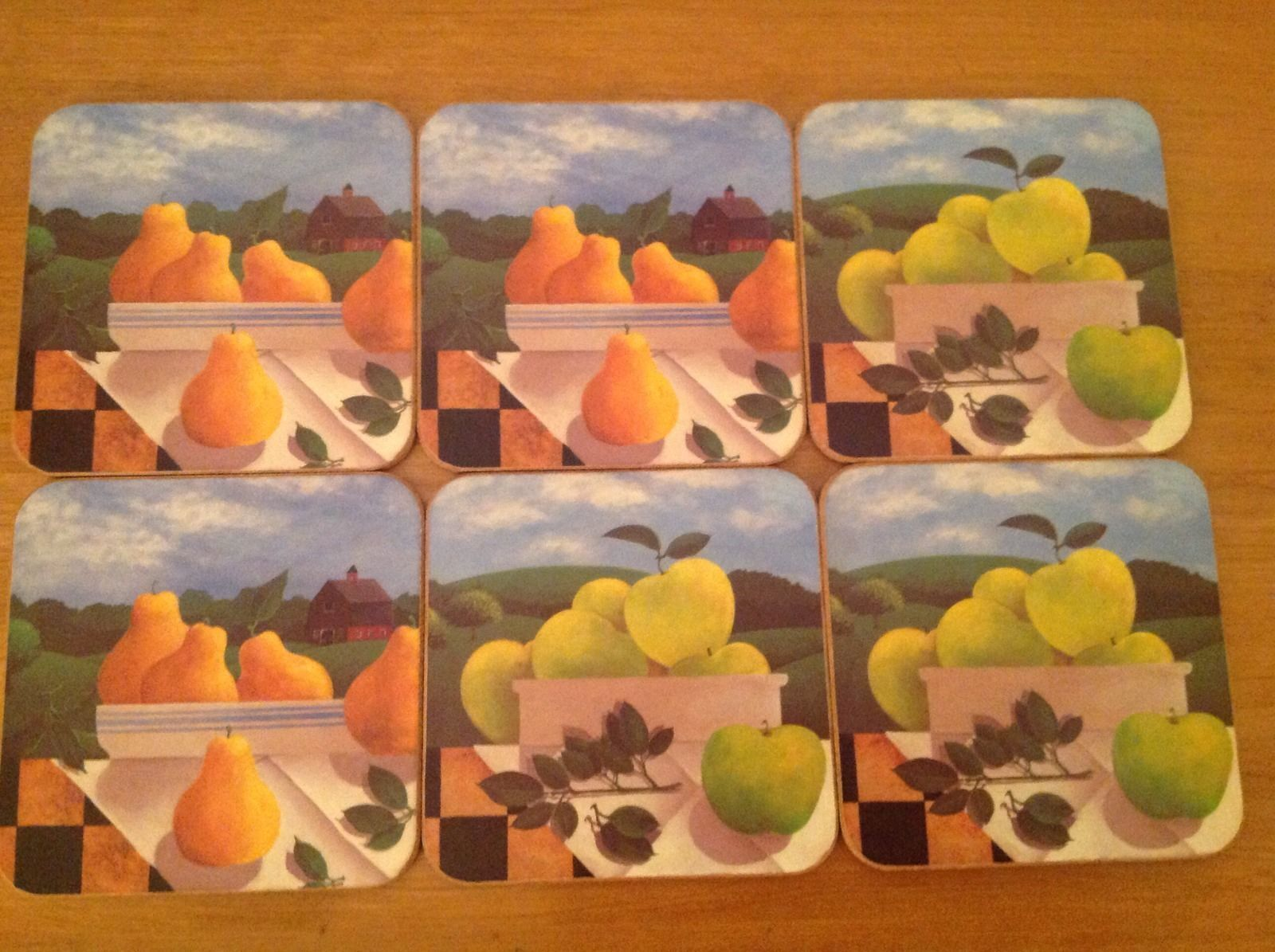 Lot de 6 Pimpernel Fruit tableau Pear Apple art Damier ferme Coasters