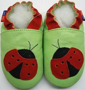Minishoezoo-Nuevo-Suave-Suela-Cuero-Nina-Bebe-Zapatos-Ladybug-Verde-3-4-Anos