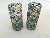 Set Of 2 Mexican Confetti Tequila Shot Glasses Handblown Blown Glass