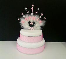 Minnie mouse stile topper torta di compleanno,personalizzato con ogni nome e età