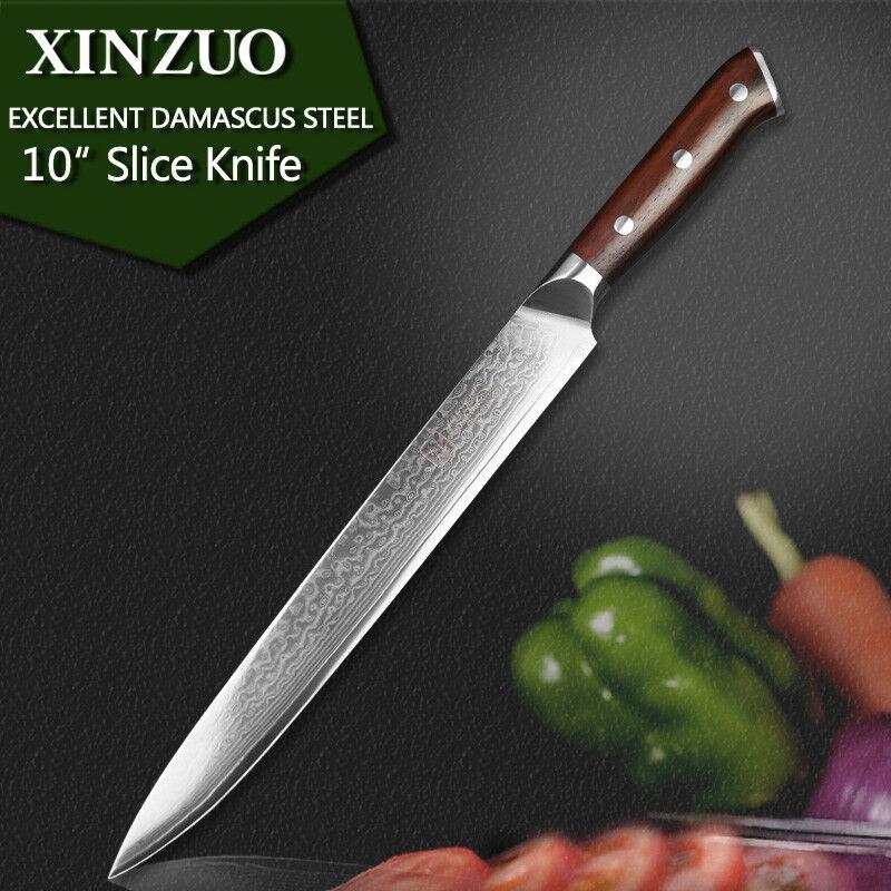 braun 10 Inches Sashimi Knife Damascus Steel 67 Layers Wood Handle Sushi Nigiri