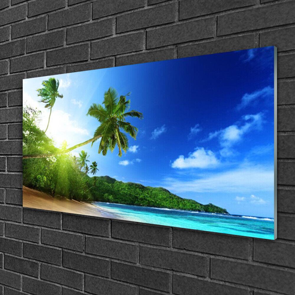 Tableau sur verre Image Impression 100x50 Paysage Plage Palmiers Mer