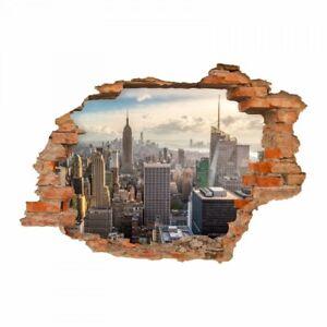 146 wandtattoo new york manhattan loch in der wand wandbild wanddeko skyline ebay. Black Bedroom Furniture Sets. Home Design Ideas