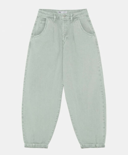 ZARA NEW WOMAN Z1975 SLOUCHY DARTED JEANS PANT SEA GREEN ALL SIZES 6147//159