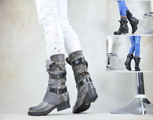 Nuovo Designer Scarpe Donna Biker Boots Stivaletti con Borchie Fibbia