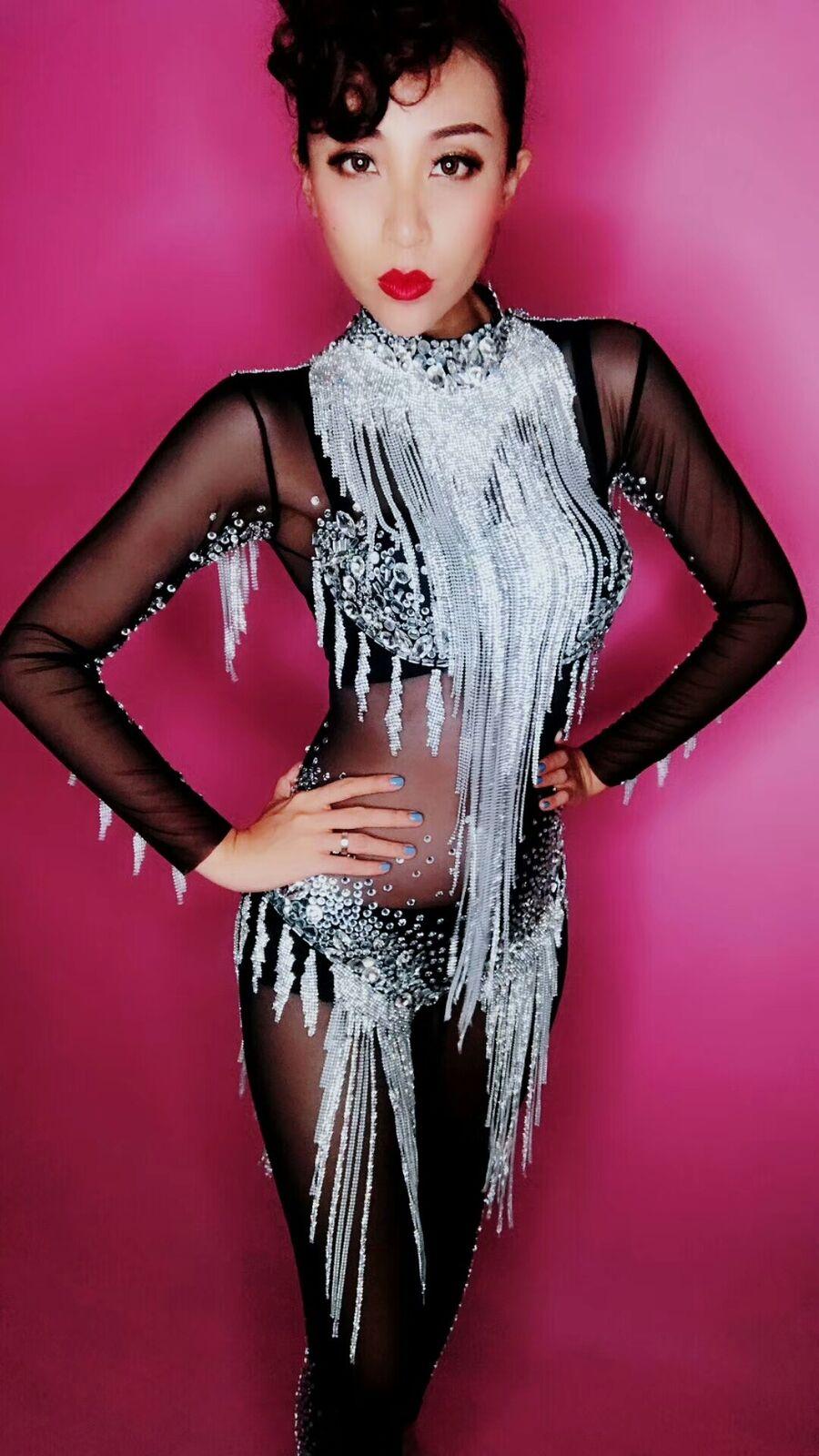 Plata brillante pedrería  Borla mono cristales Body Mujer Malla Negra  disfrutando de sus compras