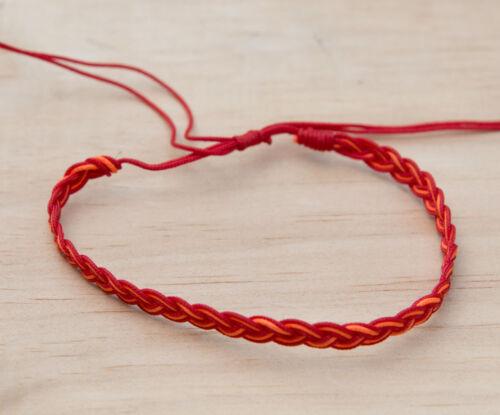 Bracelet bresilien Amitié bi-color rouge orange  fils tous poignets  F3 BB 922