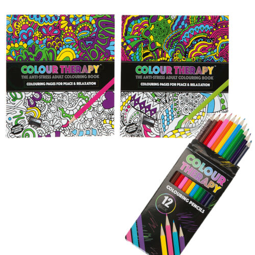 ADULT COLOURING BOOK WITH 12 PACK COLOURING PENCILS SOOTHING RELAXING STRESS AID