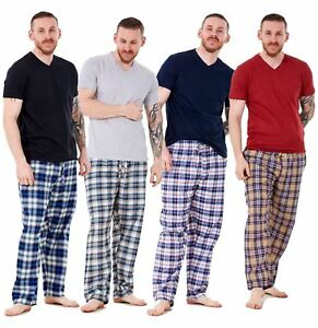 Haben Sie Einen Fragenden Verstand Mens Pyjama Set Cotton Woven Check Long Bottoms Lounge Pants Lightweight T-shirt Herrenmode