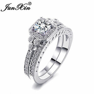 image is loading junxin princess cut white sapphire wedding band rings - White Sapphire Wedding Ring Sets