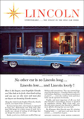 LINCOLN PREMIERE CONVERTIBLE 57 RETRO A3 POSTER PRINT FROM ADVERT 1957