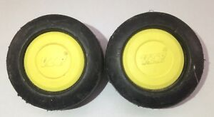 VIP-vintage-HARDSHELL-spare-SUITCASE-wheels-REPLACEMENT-part-YELLOW-caps-USED