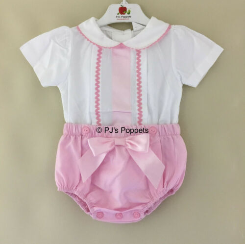 Baby Girls Traditional Spanish Style Jam Pants Set Shirt Shorts Pink White