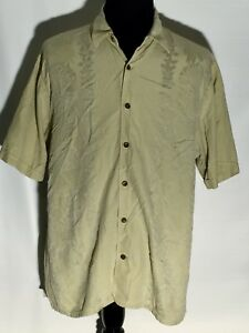 Tommy-Bahama-Embroidered-Floral-Silk-Blend-XL-Green-Button-Front-Hawaiian-Shirt