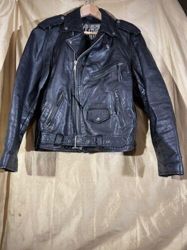 Vtg Classic Leather Motorcycle Jacket Cropped Sz 4