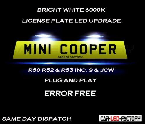 Plug /& Play * S/'adapter MINI COOPER R50 R52 R53 Blanc DEL Plaque d/'immatriculation Ampoules