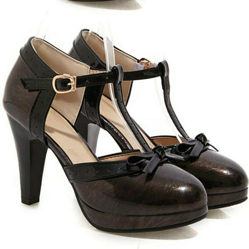 Fashion Women Ankle Strap High Heels Buckle Bowknots Pumps Spring All-match shoes