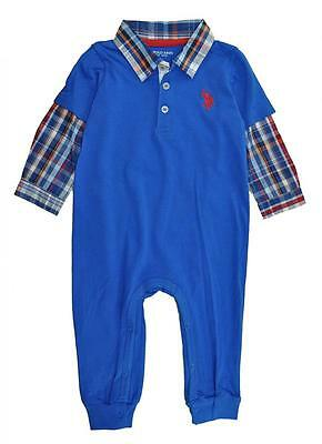US Polo Assn Infant Boys L//S White Polo 2pc Overall Set Size 12M 18M 24M $32