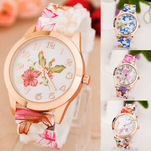 Fashion-Women-039-s-Watch-Silicone-Printed-Flower-Causal-Quartz-Analog-Wrist-Watches
