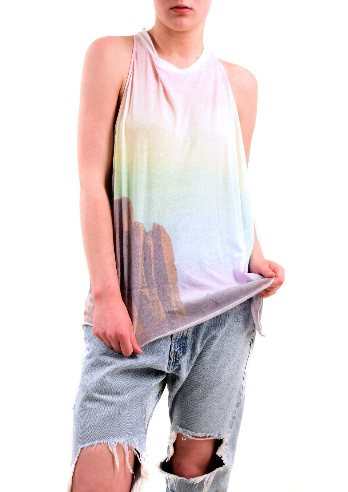 Wildfox Women's Rainbow Mountain Vest Top Tee Multi color Size S